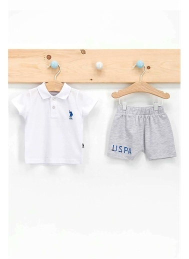 U.S. Polo Assn. Lisanslı Beyaz Erkek Bebek Dik Yaka T-Shirt Takım Beyaz